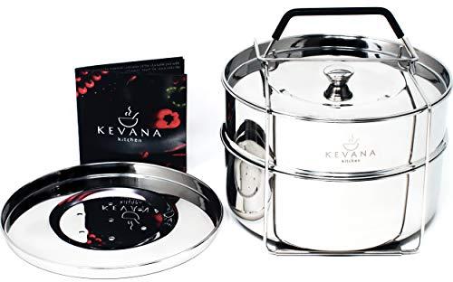 Kevana Kitchen Instant Pot Accessories Stackable Steamer Insert Pans, 6 Quart, Stainless Steel, Premium
