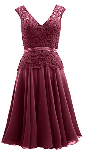 The Dress Women Neck Mother Formal Lace Wine MACloth of Gown V Midi Bride Red Chiffon vZwR7