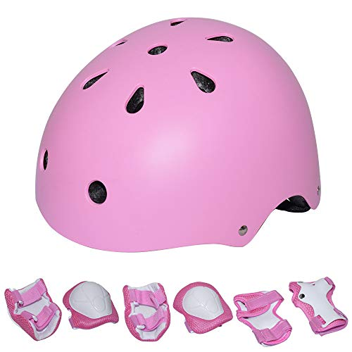 KYVIGOR Kids 7Pcs Protective Gear with Helmet,Sports Safety Equipment Child Helmet Pads of Wrist/Elbow/Knee, for Skateboarding, Cycling and Other Sports Activities(3-7Years Old) (Pink)