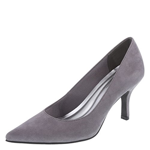 Predictions Comfort Plus by Women's Grey Suede Women's Janine Pointy Toe Pump 9.5 Regular