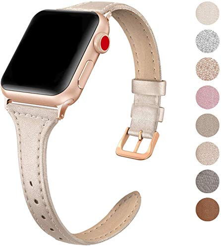 SWEES Leather Band Compatible for Apple Watch iWatch 38mm 40mm, Slim Thin Dressy Genuine Leather Strap Compatible iWatch Series 5 Series 4 Series 3 Series 2 Series 1 Sport Edition, Champagne