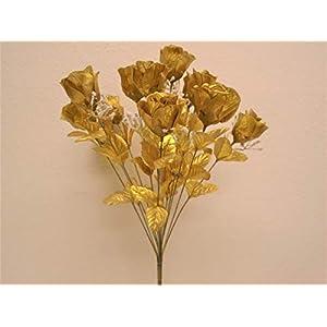 """Phoenix Silk Rose Buds Bush 14 Artificial Flowers 19"""" Bouquet 265 Gold 2"""