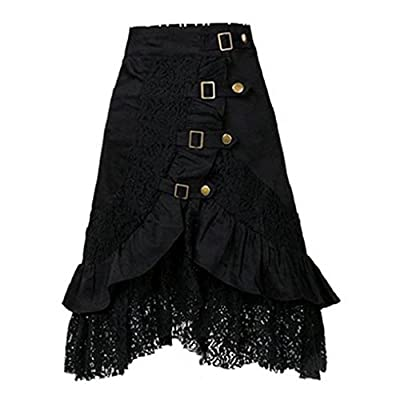 VEZAD Lace Skirt Women's Steampunk Clothing Party Club Wear Punk Gothic Retro Black Skirt