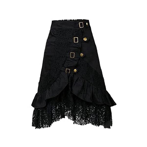 VEZAD Lace Skirt Women's Steampunk Clothing Party Club Wear Punk Gothic Retro Black Skirt 3
