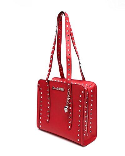- Lux de Ville Large Trouble Maker Studded Tote Bag Red Matte