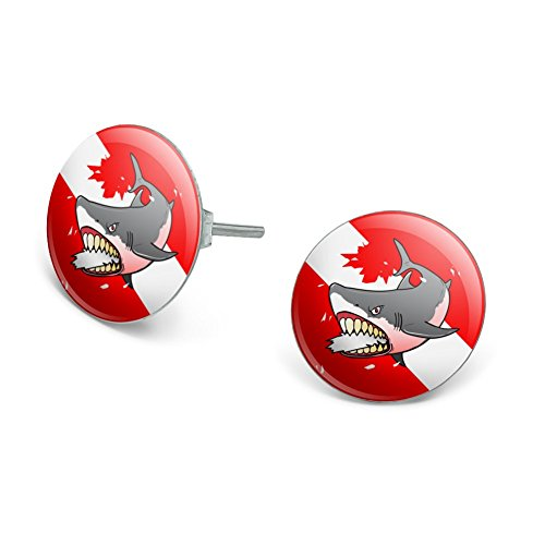 Scuba Diver And Shark Costume (Angry Shark Scuba Diving Flag Diver Novelty Silver Plated Stud Earrings)