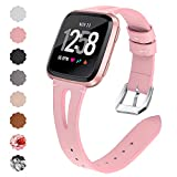 QIBOX Compatible Fitbit Versa Bands, Genuine Leather Bands with Stainless Steel Buckle Strap Replacement Wristband for Fitbit Versa Lite Edition SE Women Men