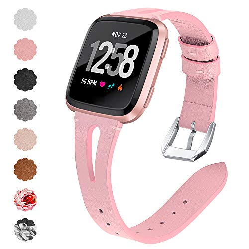 (QIBOX Compatible Fitbit Versa Bands, Genuine Leather Bands with Stainless Steel Buckle Strap Replacement Wristband for Fitbit Versa Lite Edition SE Women)