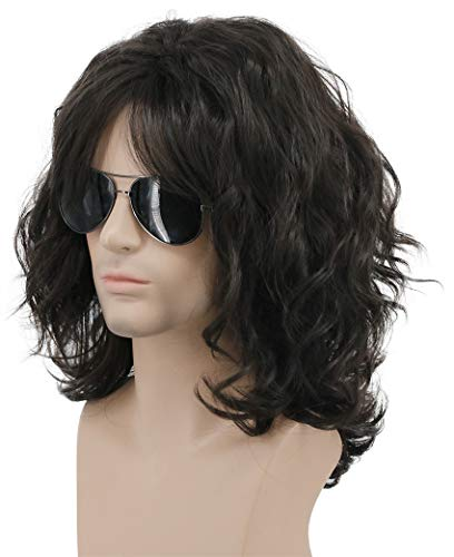 Karlery California 70s 80s Rocker Wig Men Women Long Curly Dark Brown Halloween Costume Anime Wig]()