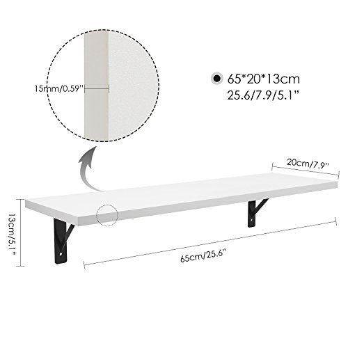 HOMFA Floating Shelves Wall Mounted 2 Display Ledge Shelf with Bracket for Pictures and Frames Modern Home Decorative