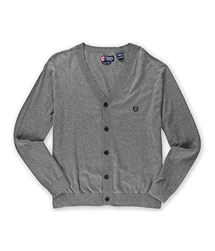 Chaps Mens Pima Cotton Logo Cardigan Sweater, Grey, -