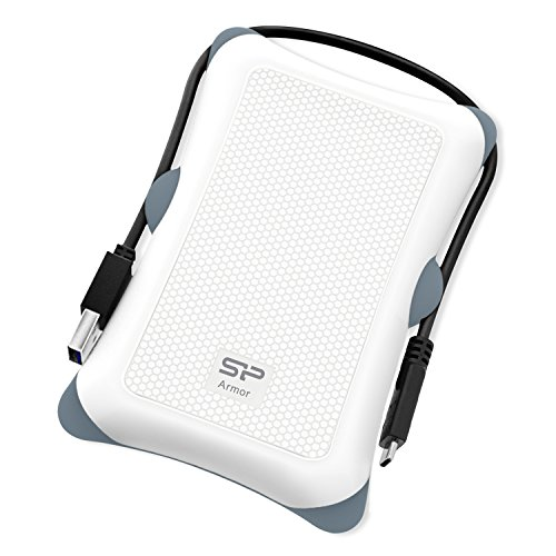 Silicon Power 2TB Type C External Hard Drive USB 3.0 Rugged Armor A30 Military-Grade Shockproof, Dual Cables Included  (Type C to Type A & Type A to Type A), White by Silicon Power