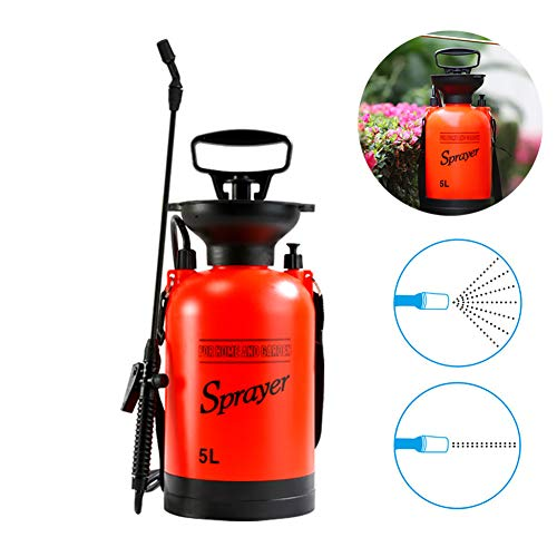 ZDYLM-Y One-Hand Pressure Sprayer 5 Liters Lawn and Garden Pump Pressure Sprayer with Pressure Relief Valve, for Herbicides, Fertilizers, Mild Cleaning Solutions and Bleach ()