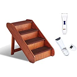 Solvit PupSTEP Extra Large Wood Pet Stairs with Pet Grooming Clippers Bundle