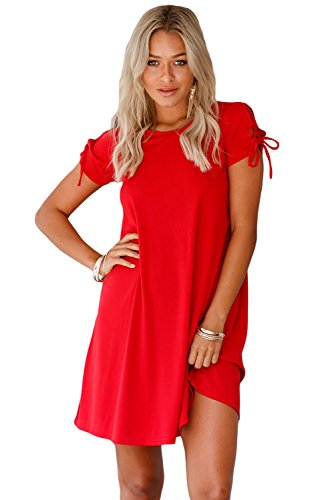 Unbranded* Women's Night and Day Lace Up Short Sleeves Loose Casual T Shirt Dress Small Red