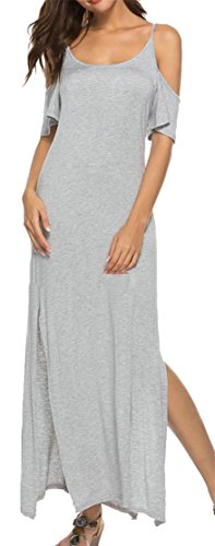 Gray Casual Shoulder Maxi Moder Cromoncent Dress Women's Cold Strap Spaghetti Split YfqFv