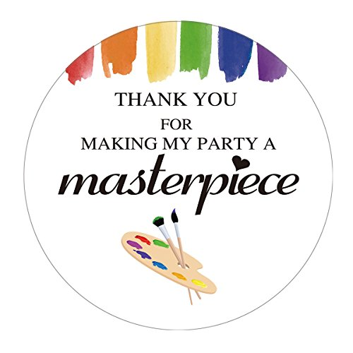 MAGJUCHE Art Paint Thank You Stickers, Art Painting Kids Birthday Party Favors Sticker Labels, 2 inch, 40-Pack