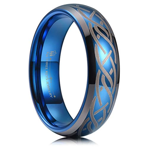- THREE KEYS JEWELRY 6MM Tungsten Carbide Wedding Ring Blue Laser Celtic Knot Braid Womens Mens Wedding Band Engagement Ring Promise Ring Dome Beveled Edge Size 10.5
