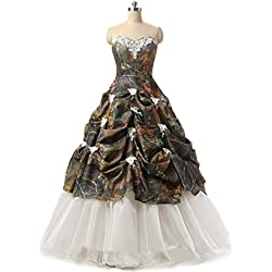 Chupeng Women's Sweetheart Ball Gown Appliques Camouflage Wedding Dresses for Bride Camo 8