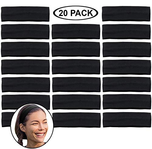Stretchy Headbands - Yoga Headbands - Sports Headbands - 2-Inch-Wide Black Headband - 20 Pack Cotton Headbands by CoverYourHair