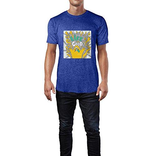 SINUS ART® Lustiges Monster mit Aufschrift Life Is Good Herren T-Shirts in Vintage Blau Cooles Fun Shirt mit tollen Aufdruck