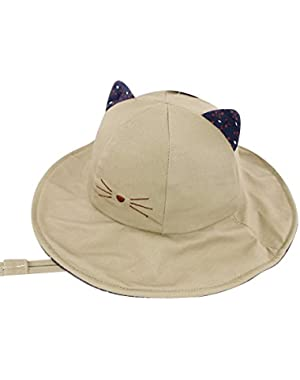 Unisex Child Cool Cat Wide Brim Sun Protection Hat UPF 50 Adjustable