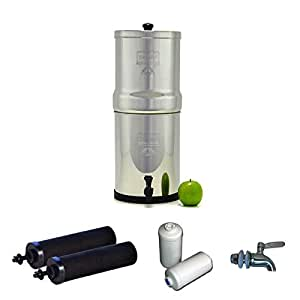 Travel Berkey Stainless Steel Water Filtration System w/ STAINLESS STEEL SPIGOT / 2 Black Filters / 2 Fluoride Filters (1.5 Gallon (Travel Berkey))