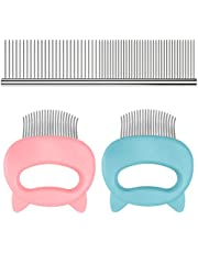 3 Pcs Pet Shell Comb,Sonku Hair Removal Massaging Tool for Long and Short Hair Cat Dog