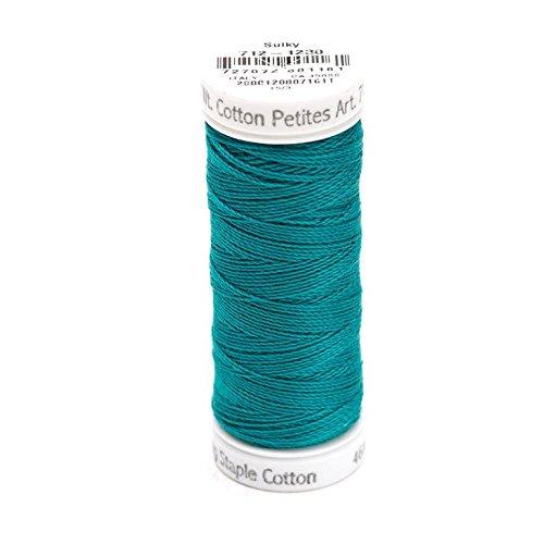 Teal Cotton Thread - Sulky Of America 12wt 2-Ply Cotton Thread, 50 yd, Dark Teal