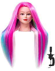"Cosmetology Mannequin Head with Synthetic Hair and Adjustable Stand 26-28"" Colorful for Braiding Hair Styling Training Hairart Hairdressing Salon Display"