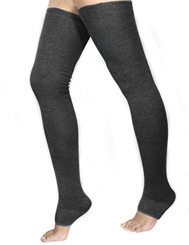 Dahlia Women's Cashmere Blend Thigh High Leg Warmers – Solid Color Dark Gray