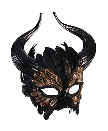 Faerynicethings Adult Size Mythical Creature Feathered Minotaur Mask - Costume - Mask Creature