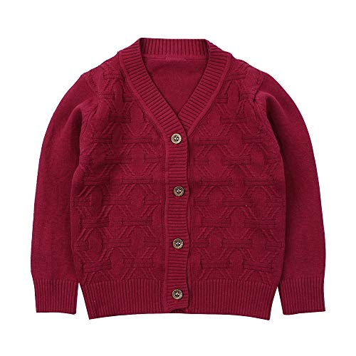 Baby Boy Cardigan Infant Toddler Crochet Sweater V-Neck,Button Up,Knitted Pattern Pullover Sweatshirt Spring (4T, Red) ()