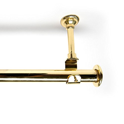 RoomDividersNow 108in-168in Hanging Curtain Rod With Brackets, Gold (Gold Wall Bracket)