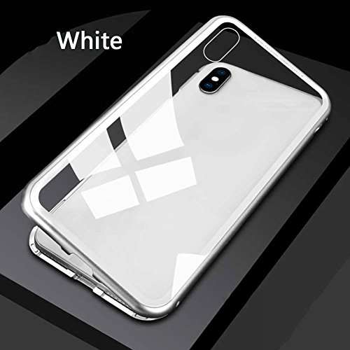 Eachbid 360° - Carcasa magnética para iPhone X/7 8 Plus (cristal templado), color transparente, for iPhoneX White