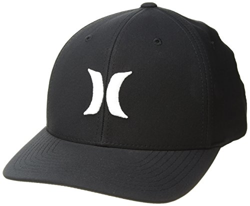 Hurley Men's Dr-Fit One & Only Flexfit Baseball Cap, Black//White, L-XL (Hat Hurley Embroidered)