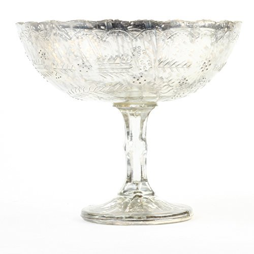 (Koyal Wholelsale 8 x 6.75-Inch Antique Silver Glass Compote Bowl Pedestal Flower Bowl Centerpiece)