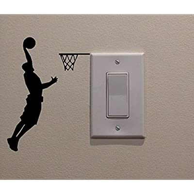 YINGKAI Athletic Basketball Player Dunking on Light Switch Decal Vinyl Wall Decal Sticker Art Living Room Carving Wall Decal Sticker for Kids Room Home Window Decoration: Home & Kitchen