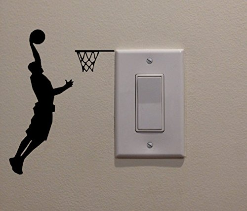 YINGKAI Athletic Basketball Player Dunking on Light Switch Decal Vinyl Wall Decal Sticker Art Living Room Carving Wall Decal Sticker for Kids Room Home Window Decoration