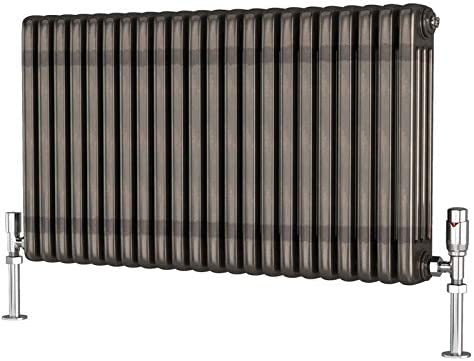 TradeRad Premium Raw Metal Lacquer Horizontal 4 Column Radiator 600mm x 609mm
