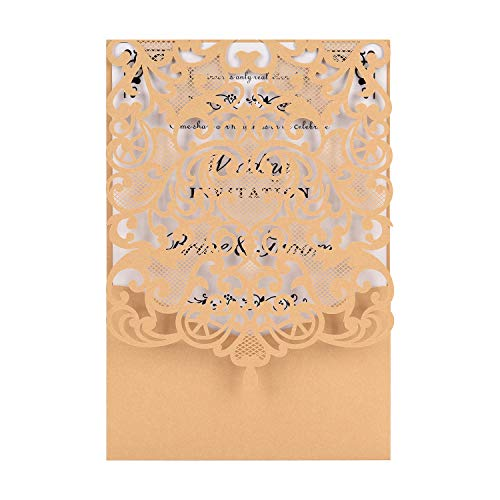 - Gold Laser Cut Wedding Invitations Kits 50 Packs FOMTOR Laser Cut Wedding Invitations with Blank Printable Cards and Envelopes for Wedding,Birthday Parties,Baby Shower