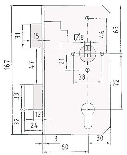 Einsteckschloss f/ür Schlossk/ästen 50mm Rohr Stulp 43x167 mm Dorn 60 PZ//W 72//8 Tor-Ersatzschloss von INTRA-TEC