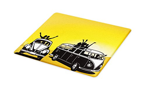 Lunarable 1960s Cutting Board, Traveling in the Sixties Hippy Car Transport Vehicle Camping Freedom Fun, Decorative Tempered Glass Cutting and Serving Board, Large Size, Mustard Black White]()
