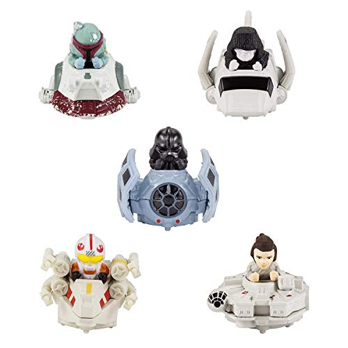 (Set of 5 Hot Wheels Star Wars Battle Rollers Starship Die Cast Vehicles Character Collectible Action Toy Figures)