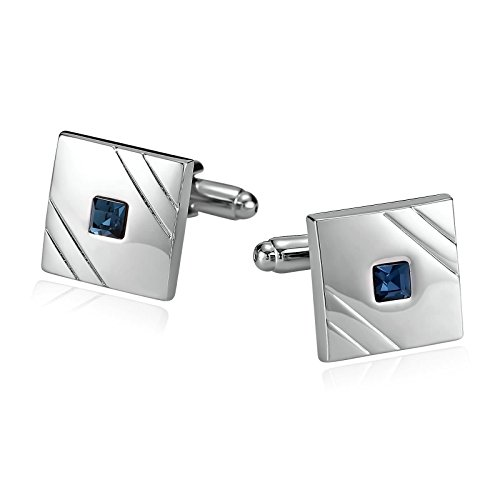 Epinki Mens Stainless Steel Sqaure with Crystal Oil Drip Blue Cufflinks for Bussiness Wedding (Sets Starbucks Uk Gift)