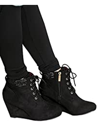 Womens Lace up Ankle Buckle Straps Wedge Heel Booties...