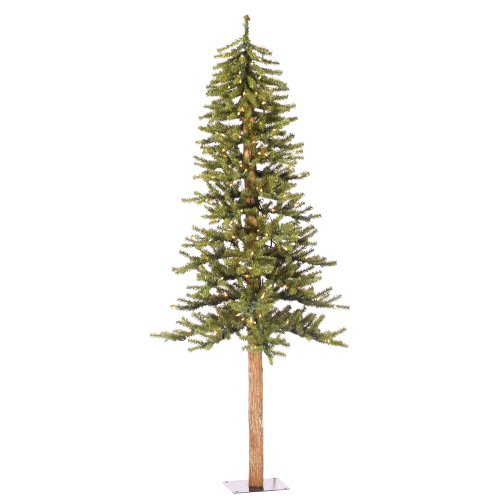 Vickerman Natural Green Alpine Tree with 250 Clear Mini Lights, (Pine Tree Natural Trunk)