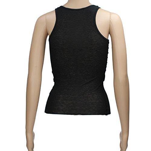 ATOS LOMBARDINI Size S Top Donna Nero Cotone Seta AP50