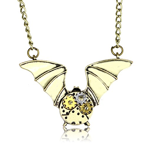 Steampunk Necklace Copper Gears Bat Wing