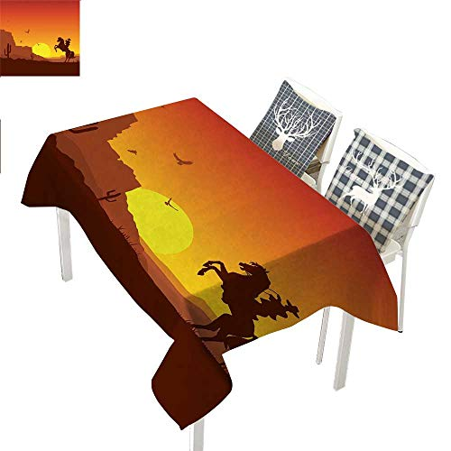 Western Asian Tablecloth American Wild West Desert with Cowboy on Horse Sunset Cactus Arid LandsOrange Yellow Brown Rectangle Tablecloth W60 xL84 inch]()